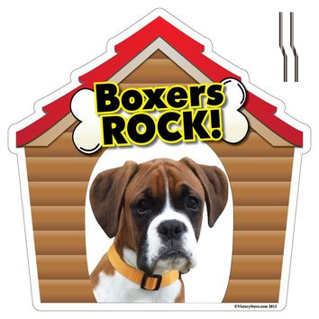 Boxers Rock! Dog Breed Yard Sign - Plastic Shaped Yard Sign w/ 2 E-Z