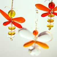 Golden Yellow Butterfly Ornament Hanging Mobile Glass Suncatcher Orange Butterfly Mobile Window Decor Children Hanging Mobile Australia Gift
