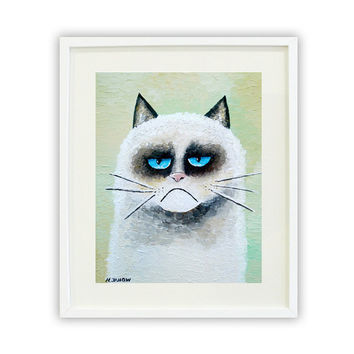 Grumpy Cat Giclee Print, Whimsical Animal Art, Kids Wall Art, Folk Art Pet Portrait 8x10 Signed