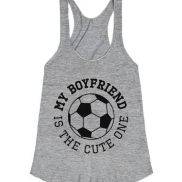 My Boyfriend Is The Cute One-Female Athletic Grey T-Shirt