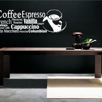 Room Wall Decor Vinyl Sticker Room Decal Art Design Coffee Espresso Shop Sign Cappuccino 829