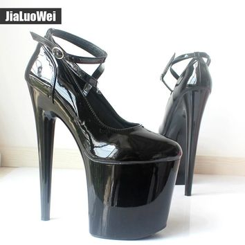 2017 New Fashion 20cm Extreme high-heeled shoes Patent Leather Pointed Toe 9CM High platform spike heel Ankle Strap pumps