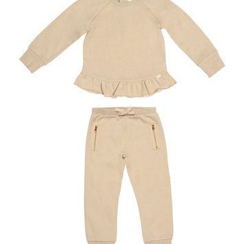 Kardashian Kids Rib Trim Sweatshirt & Trackpants Set with Zipper Detail