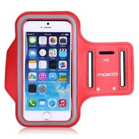 "iPhone 6 Plus Armband, iPhone 6s Plus Armband, MoKo Sports Running Armband with Key & Card Slot, Waterproof, Perfectly for Hiking, Biking, Walking, RED (Fits Cellphones up to 6.0"")"