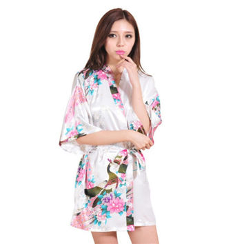 Hot Sale14 Colors Peacock Pattern Short Style Wedding Bridal Bridesmaid Kimono Robe Silk Satin Women Night Dress Gown Nightgown