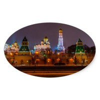 Moscow Kremlin cathedrals at night Oval Sticker