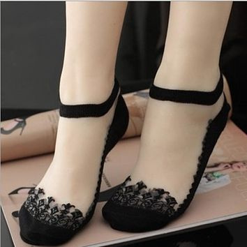 Women Lace Ruffle Ankle Sock Soft Comfy Sheer Silk Cotton Elastic Mesh Knit Frill Trim Transparent Socks