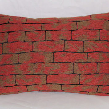 "Brick Wall Throw Pillow Rust Red Orange Brown Black Trompe L'oeil 12 x 18"" Rectangle Oblong  Cover and Insert Ready to Ship"