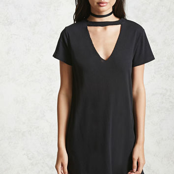 Choker Neck T-Shirt Dress