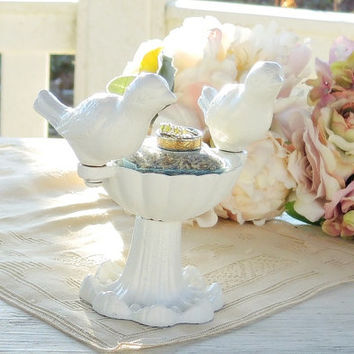 Cast Iron White Bird Bath, Wedding Decor Small Bird Feeder, Tabletop Feeder, Garden Room Decor