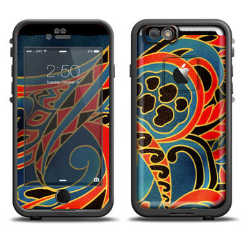 The Orange & Blue Abstract Shapes Apple iPhone 6 LifeProof Fre Case Skin Set (Other Models Available!)