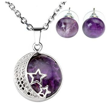 SHIP BY USPS: JOVIVI Natural Gemstones Moon and Star Healing Crystal Necklace & Abacus Stone Bead Earring Jewelry Set Gift
