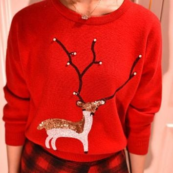 Red Deer Print Sequin Round Neck Christmas Long Sleeve Pullover Sweater