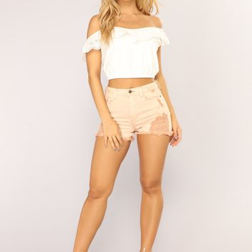 A Stonish Denim Shorts - Mauve