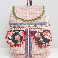 Glamorous Embroidered Backpack With Pom Pom Trim