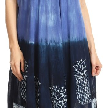 Sakkas Basira  Womens Relax Lounge Everyday Summer Long Dress Tie-dye Tropical