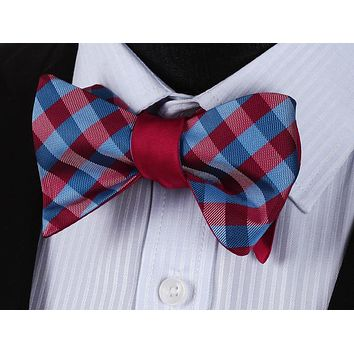 Red Blue Check Silk Double Sided Self Bow Tie Pocket Square