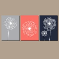 DANDELION Wall Art Coral Navy Gray Flower Artwork Custom Colors Modern Nursery Set of 3 Prints Decor Bedroom Bathroom Dorm Three
