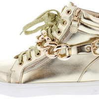 EVELYN GOLD METALLIC CHAIN HI TOP SNEAKER FLAT