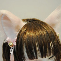 Pink CAT ears MOVABLE ears HEADBAND w Ribbon n Bell, headband cat ears kitty ears w pink ribbons & bells set Costume Cosplay Party