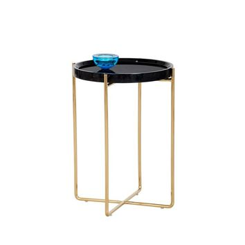 LIZ GOLD STEEL BASE BLACK MARBLE TOP SIDE TABLE
