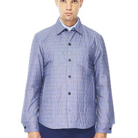 Padded Husky Shirt in Blue End on End   albam Clothing
