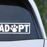 Adopt Paw Print Die Cut Vinyl Decal Sticker