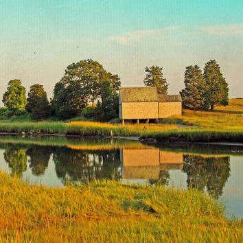 Eastham Eventide - Cape Cod - Summer - Salt Pond - Green - Blue - Golden - Fine Art Photo Painting