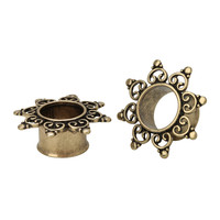 Steel Gold Bali Flower Filigree Plug 2 Pack