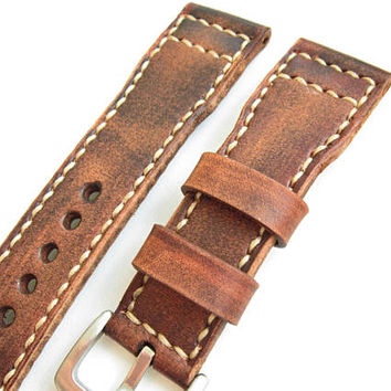 Vintage Brown Watch Strap, Natural Leather, 24mm