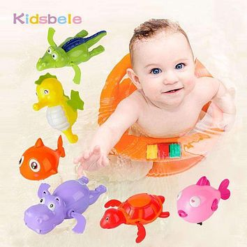 Baby Wind Up Toys Bath Toys Lovely Turtle Fish Shark Hippo Clockwork Chain Animal Swimming Toys Kids Bathtime toy Classic Toys