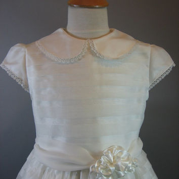 Silk Heirloom First Communion Dress - Monica, by Embroidered Heirlooms