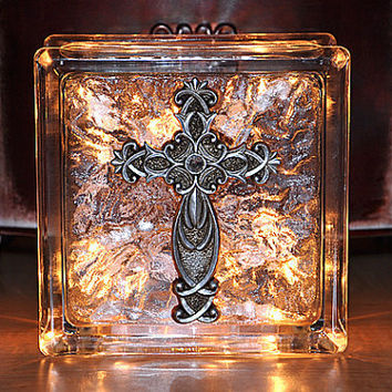 Lighted Glass Block with Christian Cross -  Wedding Gift