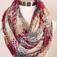 Plaid Scarf: Burgundy