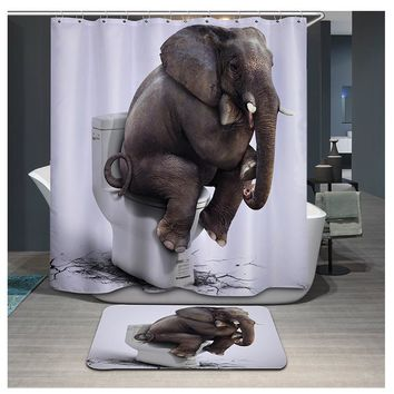 3D Printing Elephant Tiger Shower Curtain Waterproof Lion Bathroom Curtains Polyester cortina ducha with Hooks curtains YB106