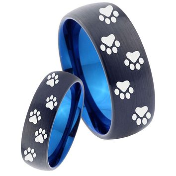 His Hers Paw Print Designs Dome Tungsten Carbide Blue Wedding Band Set