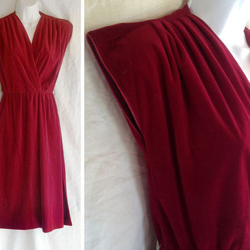 Vintage dress | 1970s soft burgundy red velvet wrap front dress