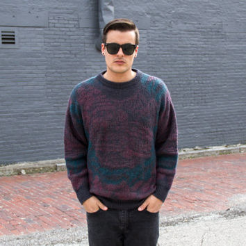 vintage 80s mens mohair sweater / geometric wool sweater men / mens 80s clothing / retro mens hipster sweater