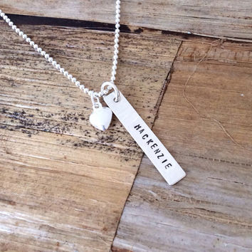 Silver Bar Necklace, Custom Engraved Name Charm, Personalized Pendant, Sterling Silver Rectangle and Heart, Message Words Gift