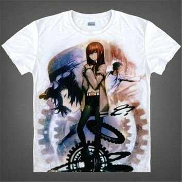 Japan Anime Steins Gate T Shirt Men's Japanese Cartoon T-shirt Makise Kurisu Cosplay Costumes t shirts tops