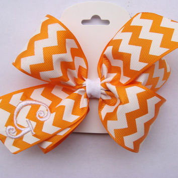 Boutique Chevron Monogrammed Orange Custom Initial Hair Bow Gift Zig Zag embroidered personalized initial pumpkin sale pin wheel