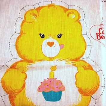 The Care Bears Fabric Panel 1980s Care Bear Cotton Fabric Sewing Panel Stuff and Sew Pillow BIRTHDAY BEAR