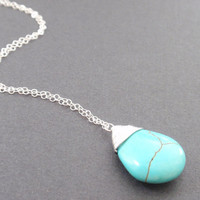 Turquoise drop sterling silver Necklace