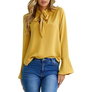 Women's Yellow Long Flare Ruffle Sleeve Tie Neck Blouse Top