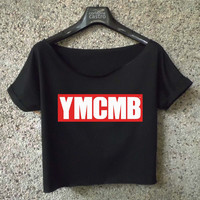 young money cropped tee logo printed ymcmb women white shirt