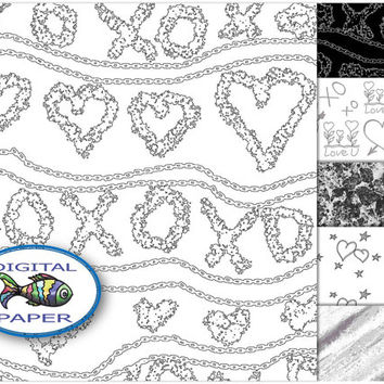 XOXO Black and White Love Heart digital paper Instant download Valentine Digital Scrapbook paper set Printable paper Pack of backgrounds