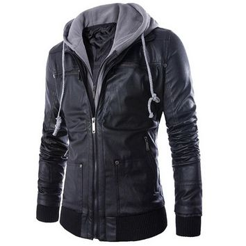 Laamei Leather Jacket Men Winter Turn-down Collar Hooded Jaqueta De Couro Masculina PU Mens Faux Fur Coats Homme Motorcycle