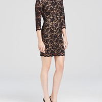 ABS by Allen SchwartzThree-Quarter Sleeve Lace Dress