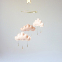 "Peach cloud and Star mobile for nursery ""MAY"" with gold star by The Butter Flying-Rain Cloud Mobile Nursery Children Decor"