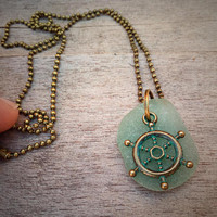 Rudder Necklace, Ship Wheel Pendant, Teal SeaGlass Charm Necklace, Ship Rudder Ocean Necklace, Beach Glass, Sailor Nautical Boating Jewelry
